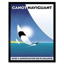 Travel canot vaviguant Vintage French Windsurf 12X16 inch Framed Art Print