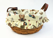 Longaberger 1992 Round Button Basket with Gingerbread Man Cookies Liner (#15)