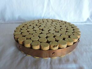 Wine Bottle Cork Trivet Round with Copper Band