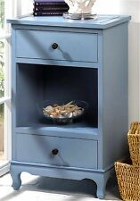 "SOMERSET BLUE 29"" SIDE, END, ACCENT OR NIGHT TABLE * 2 DRAWERS & SHELF * NIB"