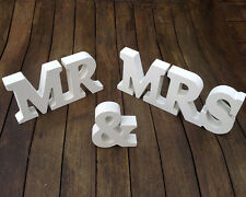 WHITE LARGE WOODEN MR & MRS LETTER SET WEDDING SIGN RUSTIC SHABBY DECORATION