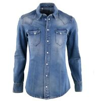DOLCE & GABBANA SICILIA Jacket Style Thick Jeans Shirt Denim Cotton Blue 03726