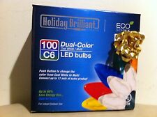 Dual Color 100 LED C6 String Light with Adapter, Cool White/Multi Color by HB