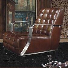 Vintage Echtleder Sessel Edelstahl Ledersessel Braun Design Lounge Möbel 448
