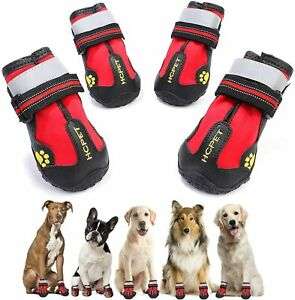 QUMY Dog Boots, Waterproof Dog Shoes, Dog Booties with Reflective Rugged
