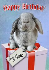 Personalised Lop Eared Rabbit Bunny Birthday Card Any Name/Age Blank inside