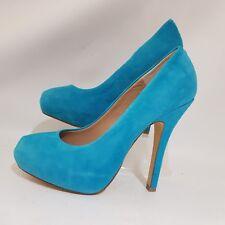 Ladies Steve Madden Blue Suede UK 7 EU 39 40 Pumps Traisie Shoes Heels Cyan Teal
