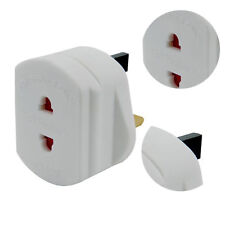 UK 2 Pin To 3 Pin Travel Main Adaptor Plug For Shaver / Toothbrush White