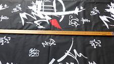 COUPON TISSU VINTAGE COTON noir avec grands signes/tags 2,20 m x 1,35 m