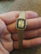 Vintage Estate Gruen Precision Gold Tone Black Quartz Watch Untested Parts DH