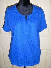 Lacey Knit Cobalt Blue Top RAFAELLA Sassy Short Sleeve Casual Career Size XXL