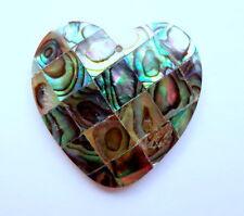 35mm Heart Shaped Abalone Shell Gemstone Bead Pendant - 1 Pc