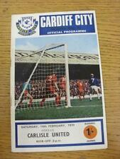 14/02/1970 Cardiff City v Carlisle United  (Creased). Item in very good conditio