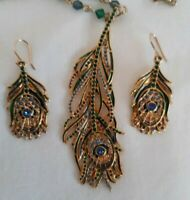 Metropolitan Museum Of Art Peacock Feather Pendant Crystal Necklace and Earrings