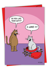 1 Funny Valentine's Day Card with Envelope - Cat In Candy C3171VDG