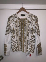 A Star Is Born White Embellished Beaded Jacket Size Small AU6 $279