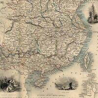 China Asia Burma Yellow Sea c.1850 Tallis Rapkin decorative map hand colored