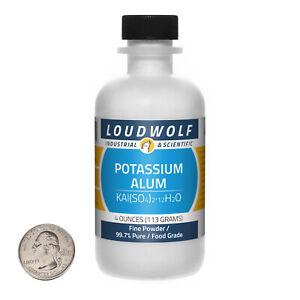Potassium Alum / 4 Ounce Bottle / 99.7% Pure Food Grade / Fine Powder / USA