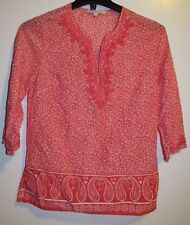ROSE & THYME WOMEN'S 3/4 SLEEVE TUNIC SALMON FLORAL & PAISLEY M EUC