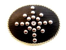 Leather Silver Studs & Rhinestone Western Belt Buckle
