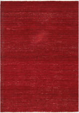 4X6 Hand-Knotted Gabbeh Carpet Traditional Red Fine Wool Area Rug D35337