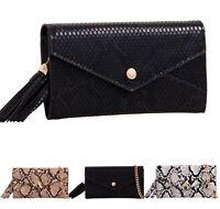 Women Snake Print Purse Wallet Ladies Faux Leather Mini Clutch Bag New UK