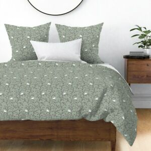 Winter Berries + Birds Elegant Holiday Christmas Sateen Duvet Cover by Roostery