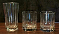 Vintage Arcoroc Drinking Glass Tumblers HEXAGON Clear FRANCE 3-Pc Set