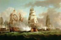Dream-art Oil painting seascape Warship sail boats Fierce naval battle on canvas