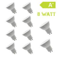10er Set LED GU10 230V 8 Watt Warmweiß Strahler Lampe Birne Spot