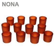 12er Set NONA 6 cm Teelichtglas Orange Kerzenglas Windlicht Kerzengläser Glas