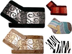 Luxury Printed Non Slip Bath Mat & Pedestal, Zebra, Glitter Swirls Multi Colours