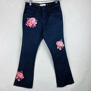 Kate Spade Juniors Size 25 Broome Street Rose Kick Flare Jeans Floral Applique