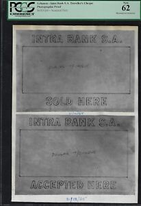 Lebanon Intra Bank S.A Traveller's Cheque Sold here  Photographic Proof UNC