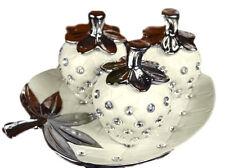 Italian 3 Pieces Cream Silver Diamante Strawberry Fruits With Tray UK