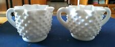 VINTAGE FENTON MILK GLASS HOBNAIL STAR TOP SUGAR AND CREAMER SET