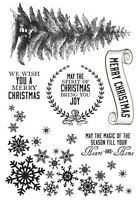 KaiserCraft Clear Stamps Frosted - Christmas Tree Snowflake Joy Winter Merry