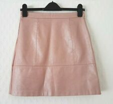 New Look PEARLY SHELL PINK VEGAN FAUX LEATHER A LINE MINI SKIRT size 10