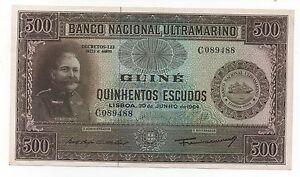 PORTUGUESE GUINEA PORTUGAL 500 ESCUDOS 1964 PICK 42 AUNC / UNC- LOOK SCANS