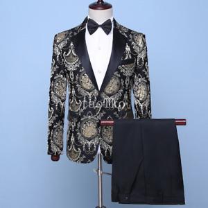 2Pcs Suits Jacket Pants Tuxedos Wedding One Button Florals Evening Party Mens XL