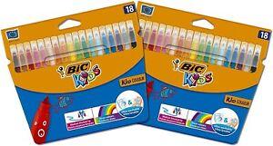 BIC Kids Felt tips (2 Packs of 18) Colours Felt Tip Pens Colouring Pen - Multi