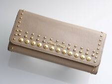 H1757M Authentic MIU MIU Studs Genuine Leather Bifold Long Wallet