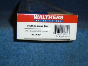 WALTHERS HO SCALE #932-5834 60 BAGGAGE CAR PENN CENTRAL (SIMPLIFIED SCHEME)