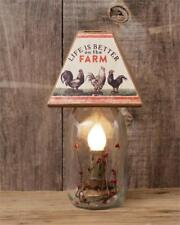 New Primitive Rooster LIFE IS BETTER ON FARM Canning Jar Plug In Lamp Light