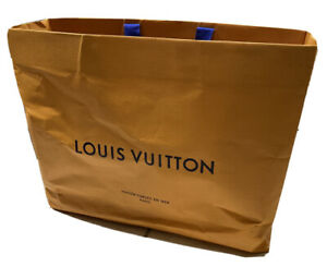 LOUIS VUITTON Authentic Approx 19x16x9 Inch Shopping Gift Tote Gold Paper Bag