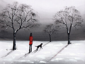 LANDSCAPE WATERCOLOUR PAINTING, Walk In Winter Snow,Dog, Sarah Featherstone ART