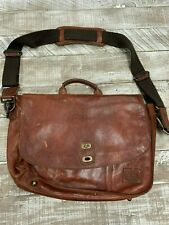 Will Leather Goods Cognac Canvas Leather Kent Messenger Retail $450