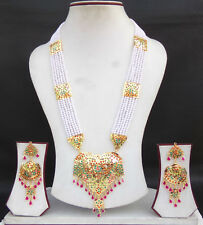 South Indian Jewelry Bollywood Gold Plated Pearl Beads Necklace Bridal Long Set