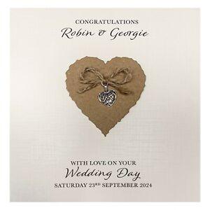 Handmade PERSONALISED Wedding Day Card - Heart Charm