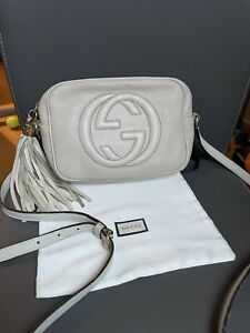 Authentic Gucci Soho Disco Beige Leather Crossbody Bag
